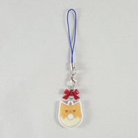 Shiba Inu, dog, donut, food, dessert, phone charm, cute, kawaii, anime, zipper charm, keychain, acrylic charm, orange
