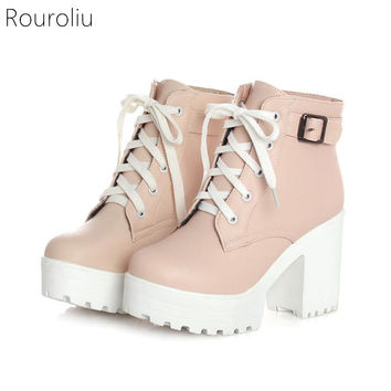 Round Toe Platform Heel Lace Up Ankle Buckle Boots