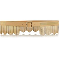 Versace Gold Microchain Embellished Fringed Leather Belt, IT 90