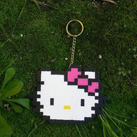 hello kitty pixel art key chain, bag accessory, hand made