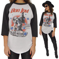 Vintage 80s Bon Jovi There's No Place Like Home Tour Raglan Jersey T Shirt Sz L
