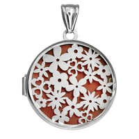 Sterling Silver With Rhodium Finish Round Locket With Satin Flower Pattern And Red Interior - 30 mm