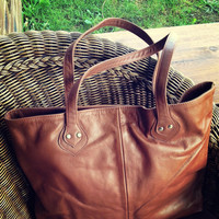 The perfect Leather Tote Bag! Quality, soft, shoulder bag. Brown leather with long handles.This shopper is the perfect tote market bag,lined