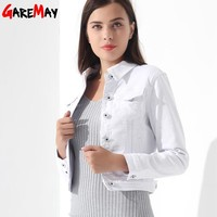 Trendy GAREMAY Basic Jeans Jacket Women White Spring Woman Denim Denim Womens Coats And Jackets Jean Slim Short Coat Jacket  Feminina AT_94_13
