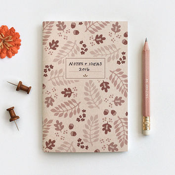 Gratitude Journal & Pencil Set - Fall Leaves, Illustrated Autumn Brown Floral Recycled Notebook, 3 Sizes Midori, Blank Lined or Dot Grid