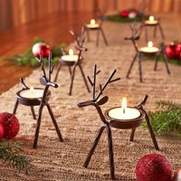 Reindeer Tea Light Holder Iron Rustic Country Christmas Winter Set of 6