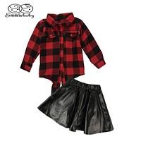 Summer & Autumn Fashion 2PCS Girls Kids Plaid Tops Shirt Leather Black Short Skirt Outfits Clothes Streetwear Set