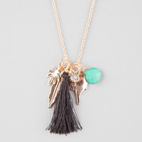 Full Tilt Tassel/Feather/Bird Cluster Necklace Antique Gold One Size For Women 25910362301