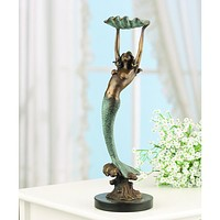 SPI Home Collection Mermaid with Tray Brass and Marble Sculpture