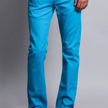 Men's Slim Fit Colored Jeans (Turquoise)