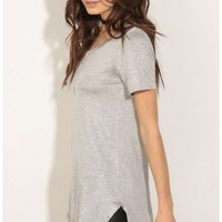 Tops > Curved Hem Day Top In Grey