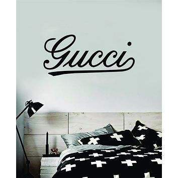 Gucci Cursive Wall Decal Home Decor Bedroom Room Vinyl Sticker Art Quote Designer Brand Luxury Girls Cute Expensive