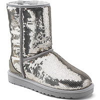 UGG Australia - Classic Sparkles - Silver Sequin Covered Sheepskin Boot at Footnotesonline Women's Designer Shoes