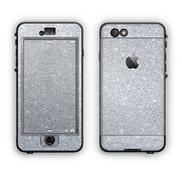 The Silver Sparkly Glitter Ultra Metallic Apple iPhone 6 Plus LifeProof Nuud Case Skin Set