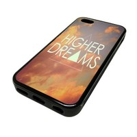 Apple iPhone 5C 5 C Case Cover Higher Dreams Sunset Clouds DESIGN BLACK RUBBER SILICONE Teen Gift Vintage Hipster Fashion Design Art Print Cell Phone Accessories