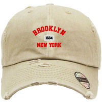 brooklyn new york Embroidered Distressed Baseball hat