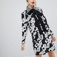 Sister Jane Mini Shift Dress With Pussybow In All Over Cards Print at asos.com