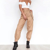 Tapered High Waisted Work Trousers