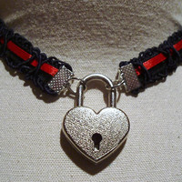 14.5 inch RUBY RED Satin Ribbon and Black Velvet submissive Day Collar with Working Heart Padlock