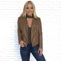 Maddox Faux Leather Jacket in Camel