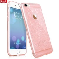 Glitter Clear Silicone Case for iPhone 5 5s SE 6 6s 7 PLUS Coque Ultra Thin Back Cover Lovely Bling Soft TPU Phone Cases capa
