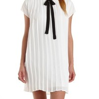White/Black Tie-Neck Pleated Shift Dress by Charlotte Russe