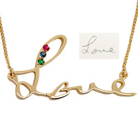 Gold Memorial Jewelry With Handwriting: 14K Gold Necklace