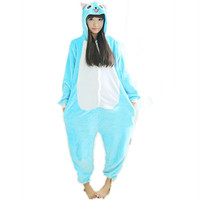 Anime Fairy Tail Happy Cat Onesuit Cartoon Cosplay Costume women Pajamas adult Cute Blue Happy Cat Onesuits Soft winter Sleepwear