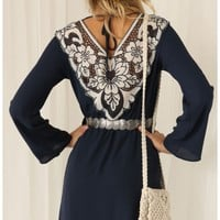 Party dresses > Navy Blue Embroidered Boho Dress