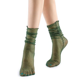 Diamond Sheer Crew Sock | Deep Green