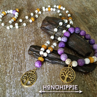 Tree of life necklace and bracelet, purple jasper, turquoise beaded hippie becklace
