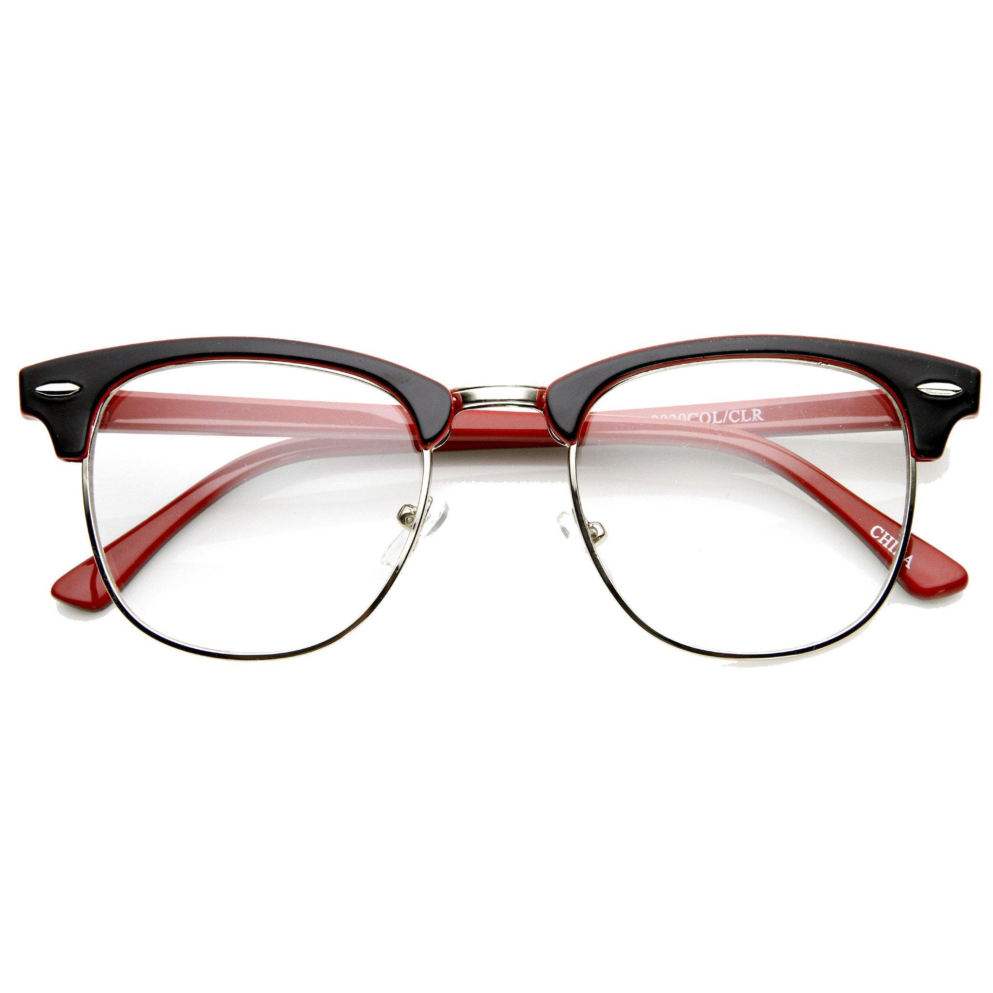 Image of Retro Two Tone Colorful Clear Lens Half Frame Horned Rim Glasses 9184