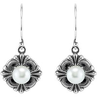 Sterling Silver Victorian Style Pearl French Wire Earrings