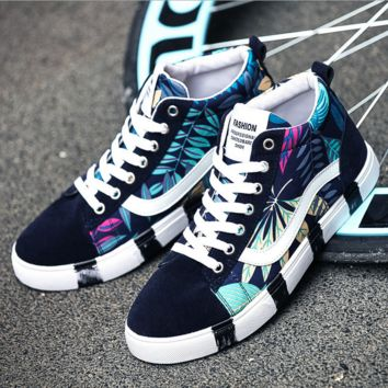 Mens Floral Printed Sports Canvas Shoes Boyfriend Gift