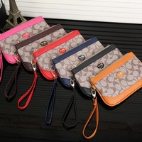 """Coach"" Women Purse Casual Fashion Multicolor Zip Handbag Wallet Wrist Bag"