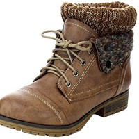 REFRESH WYNNE Women's combat style lace up ankle bootie Taupe 9