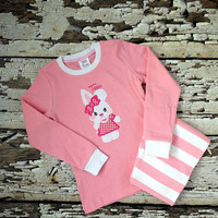 Easter Pajamas - Bunny Pjs - Pink/White Striped Pajamas - Rabbit Outfit - Girl PJs