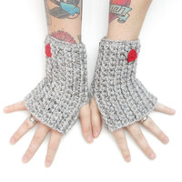 Wrist Warmer Gloves in Grey Tweed with Red Hearts, ready to ship.