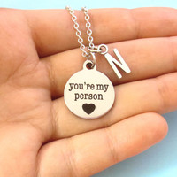 You are my person, Grey's Anatomy, Personalized, Letter, Initial, Silver, Color, Heart, Necklace, Custom, Letter, Valentine, Birthday, Gift