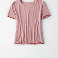 AE Soft & Sexy Lettuce Trim Baby Tee, Red
