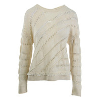 Nanette Lepore Womens Explorer Knit Open Stitch Pullover Sweater
