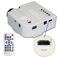 """60"""" Portable Mini Hd LED Projector Cinema Theater,Support PC Laptop HDMI VGA Input and SD + USB + AV Input,for iphone,galaxy,laptop,mac.with Remote Control *White*,Only for home"""