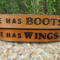 His Hers Hand Tooled Leather Bracelet Cuff - He Has Boots, She Has Wings - Set of Two, Pair of Bracelets - Snap