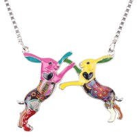 Statement Metal Alloy Animal Rabbit Hares Choker Necklace Chahin Collar Pendant Fashion New Enamel Jewelry  Women
