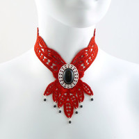 Red Lace Choker Bib Necklace with Large Onyx Stone in by Arthlin