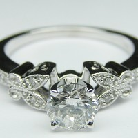 Engagement Ring - Round Diamond Butterfly Vintage Engagement Ring setting 0.16 tcw. In 14K White Gold - ES334