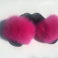 Hotty pink fox fur slides pink fur slides women's fur slippers