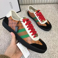 GUCCI Newest Fashionable Women Men Leisure Sport Flats Shoes Sneakers Brown