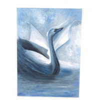 Black swan movie surreal oil on canvas painting. Original one of a kind