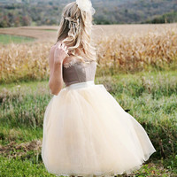 Beige tulle  tutu skirt with ivory satin waist for  women. Unlined.